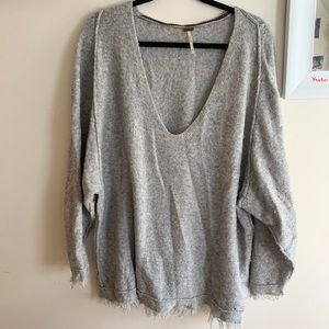Grey Free People Scoop neck Sweater